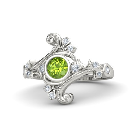 Primary image for Solid 18k White Gold Classic Floral Design Peridot White Diamond Engagement Ring