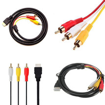 HDMI Male To 3 RCA Cable 5 Ft Video Audio AV Component Converter Adapter... - $9.76