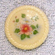 "Avon Spring Bouquet Porcelain Pin 1 1/2"" White Lapel Floral Brooch VTG 1... - $19.76"