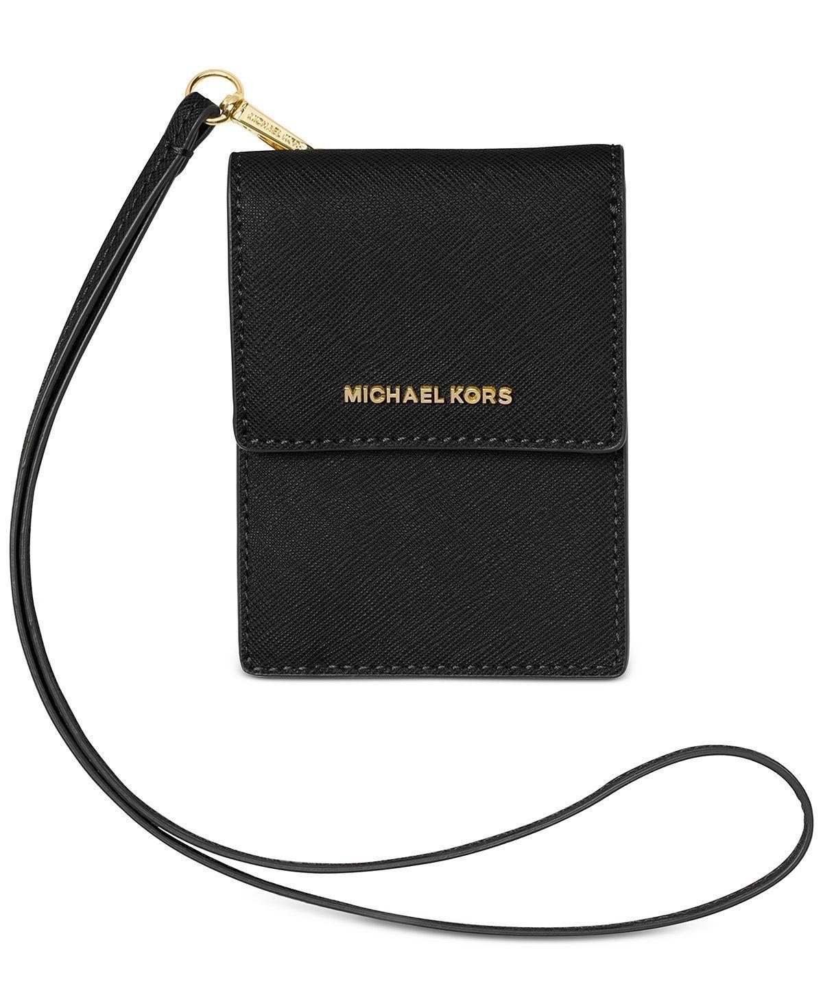 122183101239 57. 57. Previous. Michael Kors Lanyard Card Case Leather wallet Jet Set  Travel Black NWT