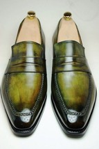 Handmade Leather Two Tone Loafers for Men Custom Made Slip on for men - $157.31 - $188.00