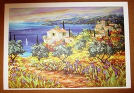 """Duaiv """"Seaside Village"""" Plate Signed Fine Art Lithograph French Scenic W... - $29.69"""
