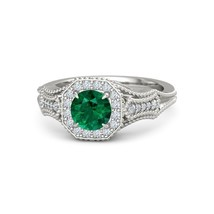 Green Gemstone Round Cut Prong Setting Womens Wedding Ring In Solid 925 ... - £123.69 GBP