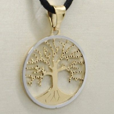 18K YELLOW WHITE GOLD TREE OF LIFE PENDANT CHARM MEDAL 0.9 INCHES MADE IN ITALY