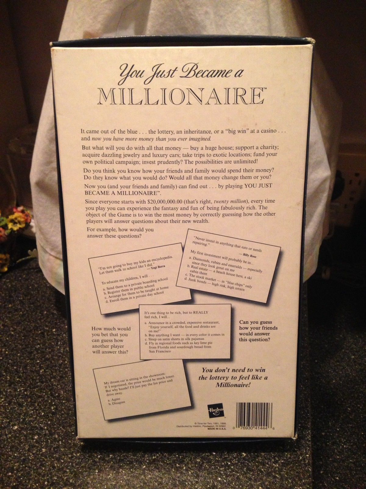 Hasbro You Just Became a Millionaire Family Fun Party Game Open New Never Used
