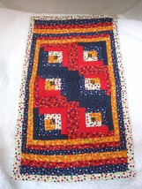 "Handmade Doll Teddy Bear Log Cabin Quilt 17 x 9 3/4"" Floral Bright Color... - $36.14"