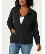 Karen Scott Plus Size Zip-Front Casual Knit Jacket Deep Black 1X Brand New - $32.13