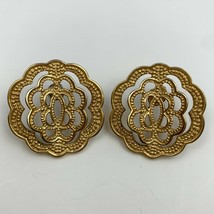 Vintage Brushed Gold Tone Open Work Pierced Earrings Textured 3D Floral ... - $11.84