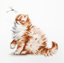 Cross Stitch Kit Luca-S A Cat With A Dragonfly - $45.00