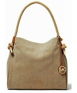 MICHAEL KORS LARGE ISLA LOGO NATURAL KHAKI COTTON CANVAS GRAB TOTE BAGNWT - $189.99