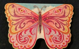 "1-Punch Studio blank Card-pink butterfly -3.5""x 5""-WHITE envelope  - $2.25"