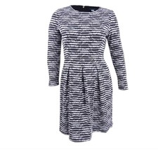 Tommy Hilfiger Women's Textured Fit and  Flare Dress Ivory/Black Size 14 - $49.29
