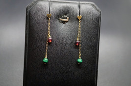 Gold-filled Chain with 3.5MM Heart Post Tiny Garnet Malachite Dangle Ear... - £12.23 GBP