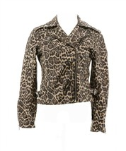 Colleen Lopez Effortlessly Faux Leather Moto Jacket LEOPARD XS NEW 691-404 - $44.53