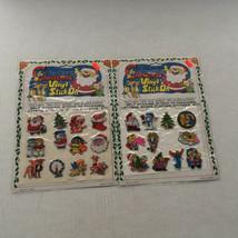 vintage Christmas vinyl stick on puffy stickers 2 pack lot santa snowman... - $24.70