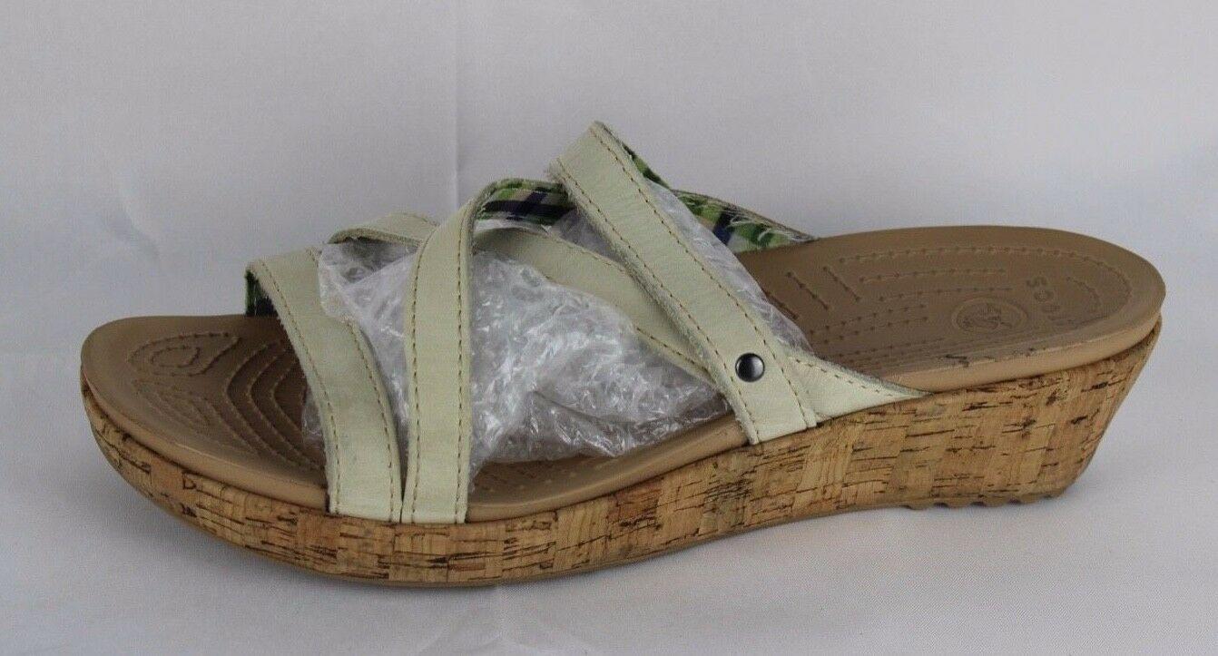 Crocs Zeppa Donna Sandali con Spalline pelle Cork Fermacapelli Beige Taglia 11