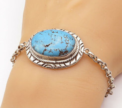 925 Sterling Silver - Vintage Cabochon Turquoise Thin Chain Bracelet - B... - $91.80