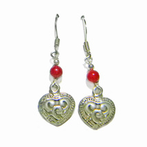 4mm Red Coral Bd/Bali Silver 12mm Heart Sterling Silver Dangle Earrings - $16.99