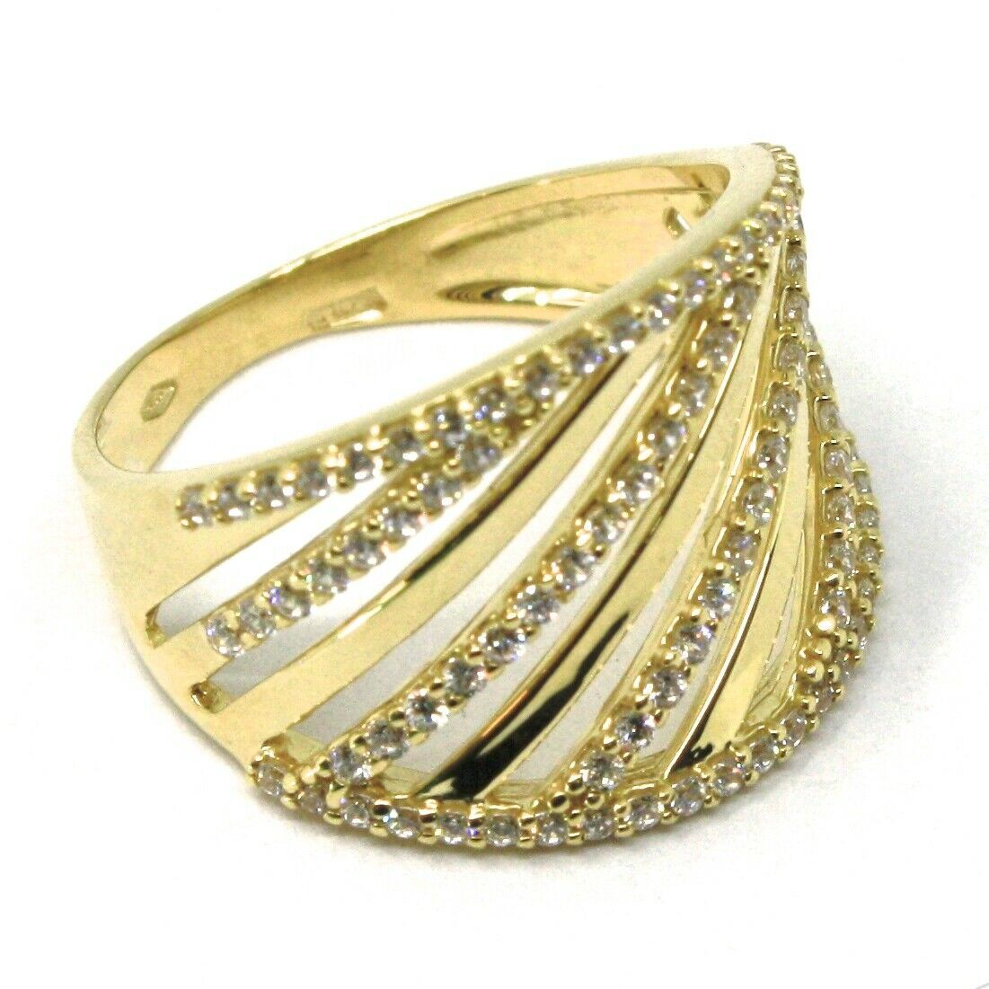 SOLID 18K YELLOW GOLD BAND RING, MULTI OBLIQUE WIRES, CUBIC ZIRCONIA