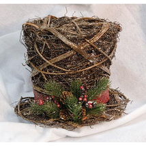 Christmas Snowman Glitter Rattan Top Hat Tree Topper glitter-coated wove... - $39.59