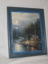 Thomas Kinkade Painter of Light Puzzle Picture Wood Frame CABIN BY STREAM - $12.82