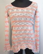Free People Orange Tan Open Knit Long Sleeve Sweater Shirt S - $24.95