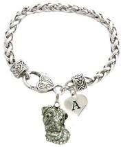 Custom Bulldog Silver Bracelet Jewelry Choose Family or Initial Charms English - $14.87