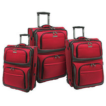 Traveler's Choice Conventional 3pc Red Rugged Rollaboard Rolling Luggage... - $148.49
