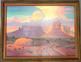 "Teddy Draper Navajo Original Oil Painting ""WILD SKIES"" Award Winning Artist - $2,030.63"