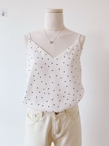 Women's Chiffon Tops Black Dot Chiffon Top V-neck Summer Blouse Top Petite Size  image 6