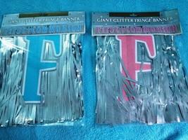 First Communion Giant Glitter Foil Fringe Letter Banner, Pink or Blue - New - $10.48