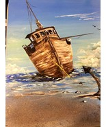 "Original Acrylic Canvas Painting Signed ""SUNDAYS AT THE SHORE"" 16 x 20 F... - $48.38"
