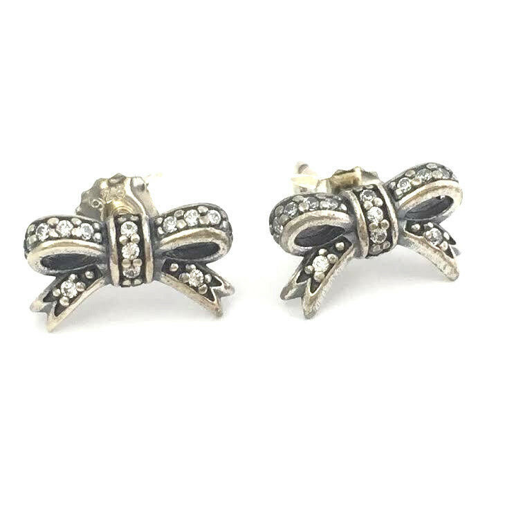 Primary image for Authentic Pandora Sparkling Bow Stud Earrings 925 Silver CZ 290555CZ, New
