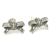 Authentic Pandora Sparkling Bow Stud Earrings 925 Silver CZ 290555CZ, New - $52.10