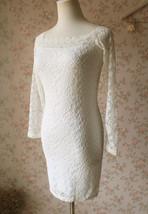 White Lace Dress Long Sleeve Stretchy Lace Sheath Dress Women Lace Party Dresses image 4
