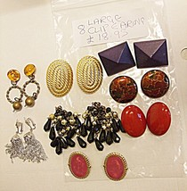 BEAUTIFUL VINTAGE B* COLLECTION OF 8 LARGE CLIP EARINGS AS SHOWN IN PHOT... - $17.68