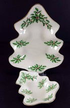 "LENOX China Holiday Dimension (Two) Tree Shaped Dish 8-3/4"" & 5-5/8"" Can... - $19.79"