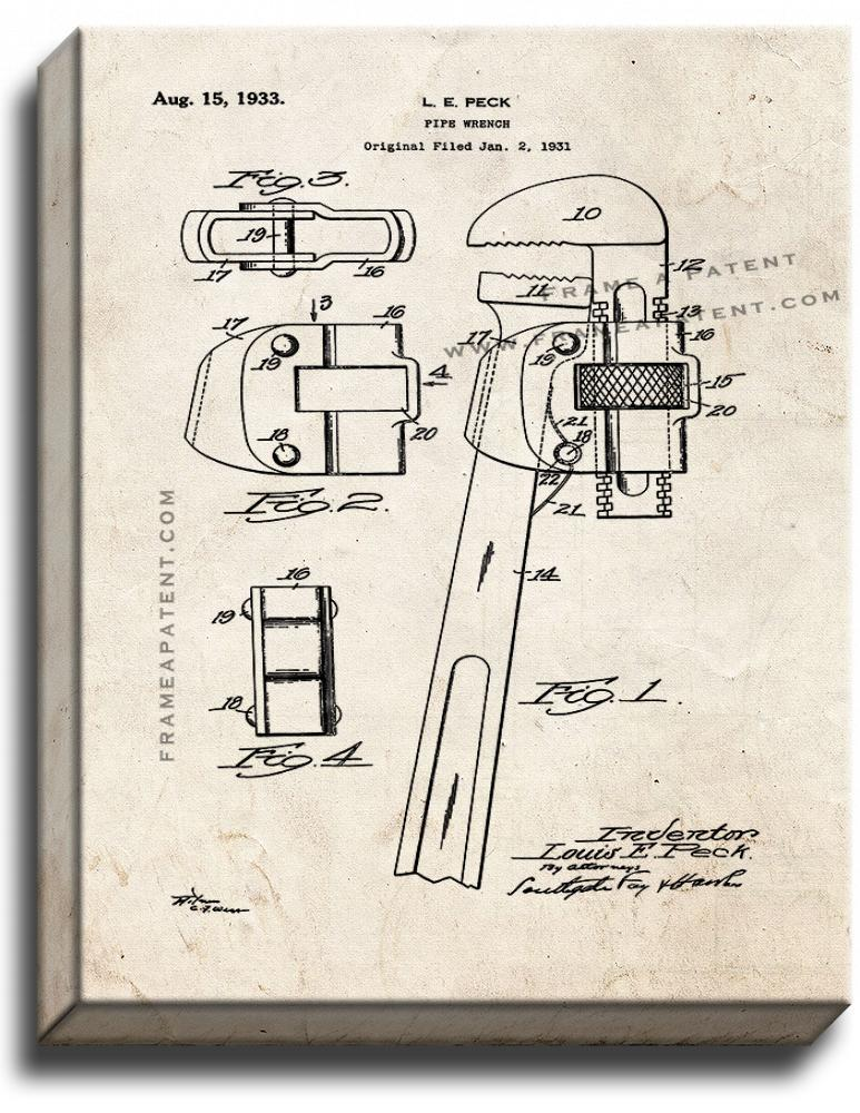 Primary image for Pipe Wrench Patent Print Old Look on Canvas