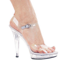 "ELLIE M-BROOK CLEAR CINDERELLA DANCE PARTY FANCY COSTUME 5"" HIGH HEEL SA... - $45.30"