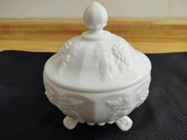 Westmoreland milk glass paneled grape tri footed lidded candy dish - $25.18