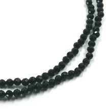 """18K YELLOW GOLD NECKLACE 39.5"""", 100cm, FACETED ROUND BLACK SPINEL DIAMETER 3mm image 2"""