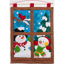 "Bucilla Felt Wall Hanging Applique Kit 15""X21""-Winter Window - $44.26"