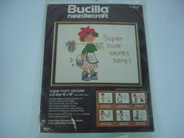 Vintage Bucilla Super Mom Works Here Needlepoint Kit By Gini 15x18 NEW - $24.32