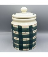 Hartstone Buffalo Check Canister Green Plaid Christmas Cookie Jar Ginger... - £17.78 GBP