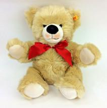Steiff Teddy Bear Brown KNOPH IM OHR Furry # 671302 Red Bow Plush Stuffe... - $43.53