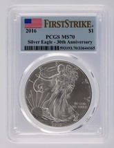 2016 $1 Silver American Eagle Graded by PCGS as MS70 First Strike 30th Anniv. - $65.33