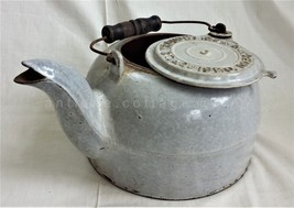 antique GRANITEWARE KETTLE gray WROUGHT IRON RANGE CO 8 st louis mo tea ... - $124.95