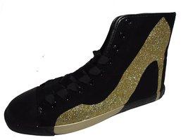 BE&D by Maison Dumain Big City Black Canvas Glitter Gold Stilletto Heels... - $49.49