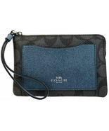 Coach Corner Zip Wristlet With Metallic Colorblock Gift Box Set (Black S... - $44.60