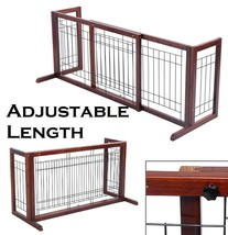 Pet Gate Wood Adjustable 8 Panels Fence Indoor Small Dogs Playpen Freest... - $72.21